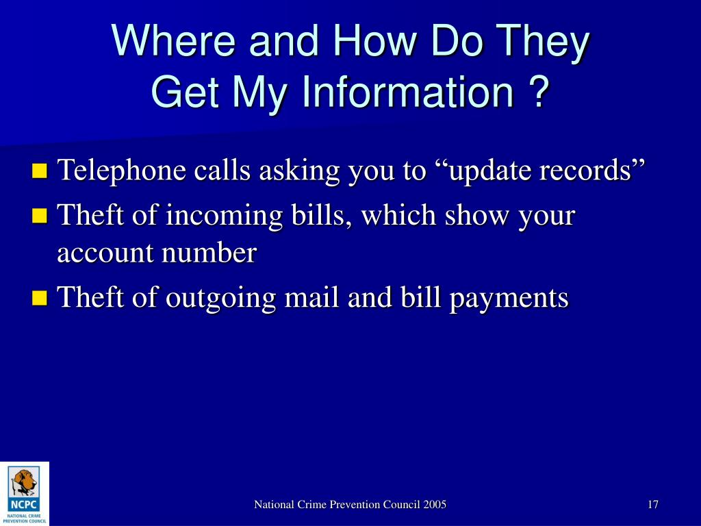 "Telephone calls asking you to ""update records"""