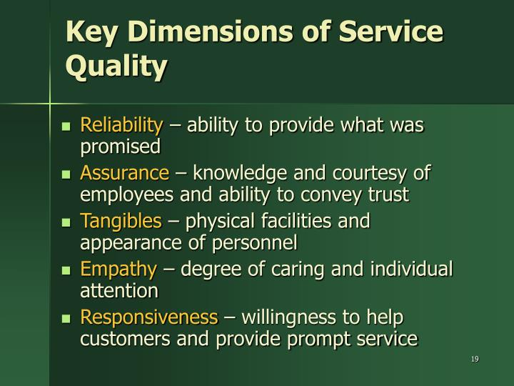 Key Dimensions of Service Quality