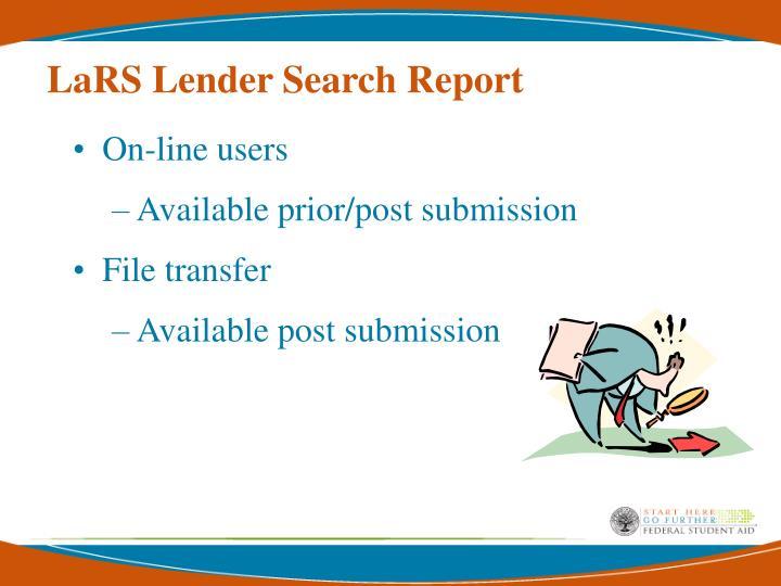 LaRS Lender Search Report