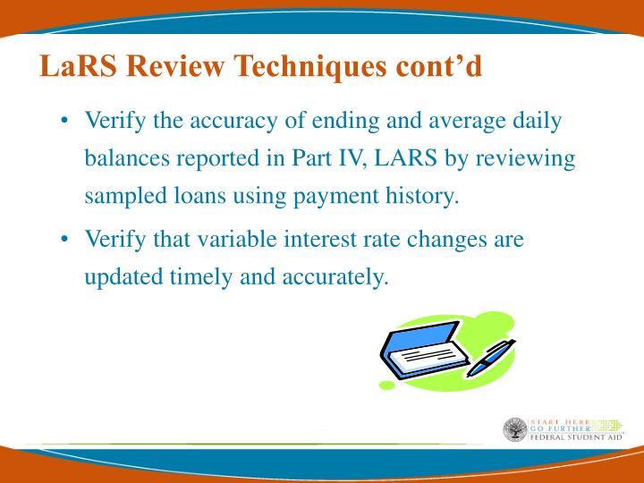 LaRS Review Techniques cont'd