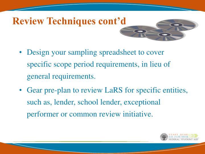 Review Techniques cont'd