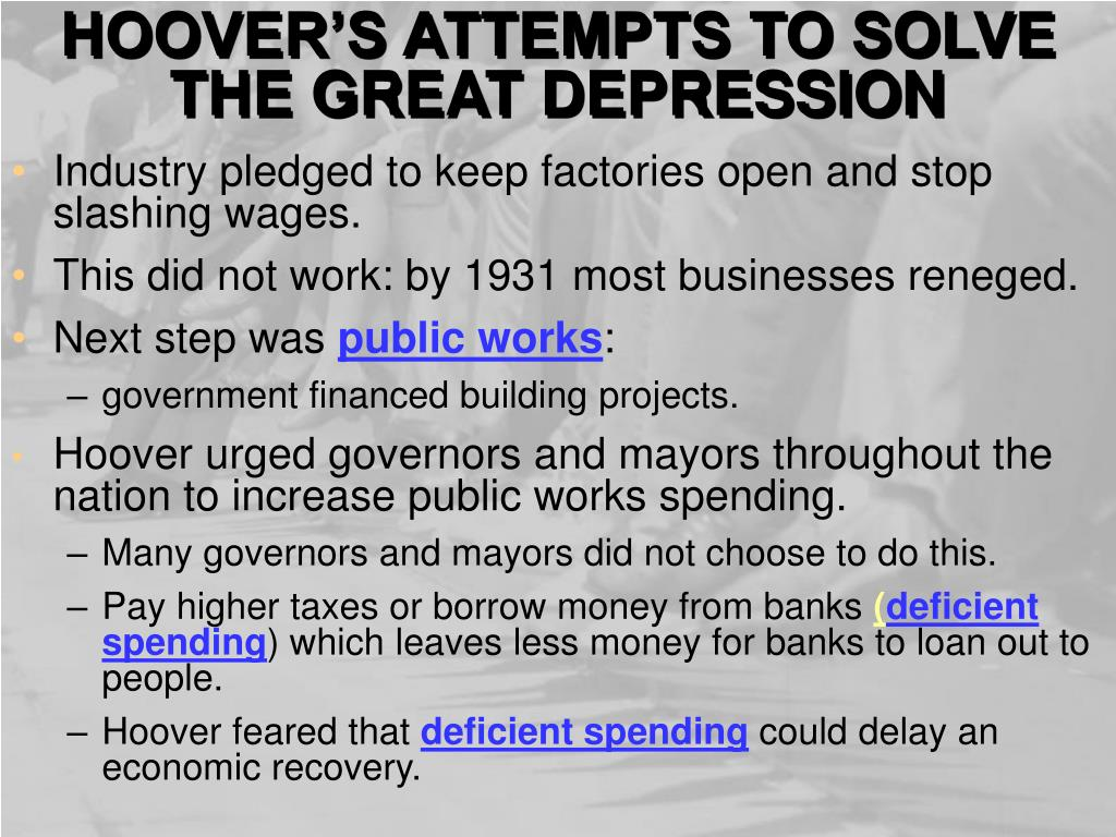 HOOVER'S ATTEMPTS TO SOLVE