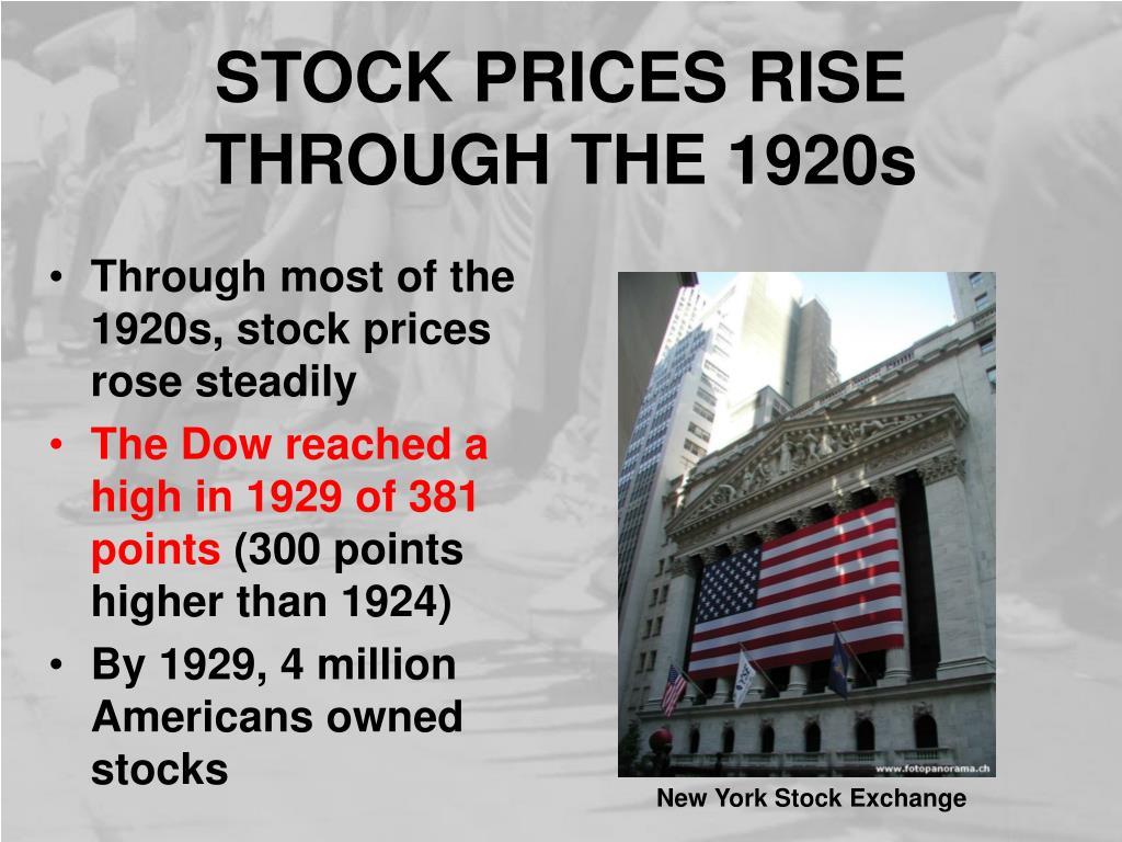 STOCK PRICES RISE THROUGH THE 1920s