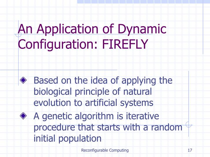 An Application of Dynamic Configuration: FIREFLY