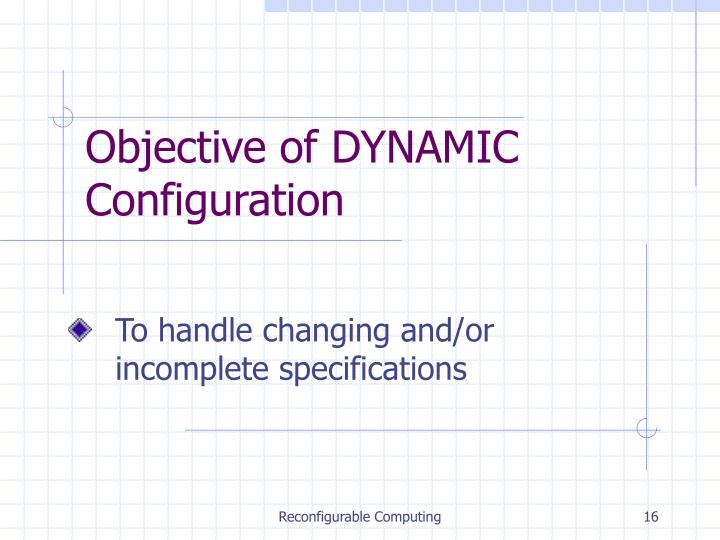 Objective of DYNAMIC Configuration