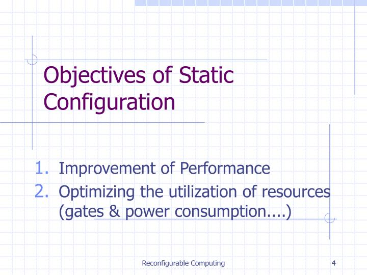 Objectives of Static Configuration