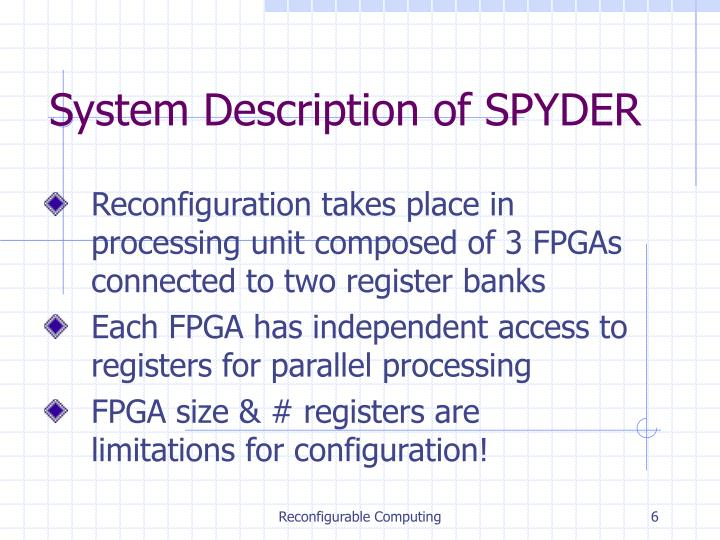 System Description of SPYDER