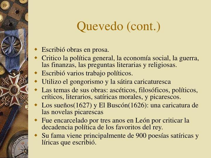 Quevedo (cont.)