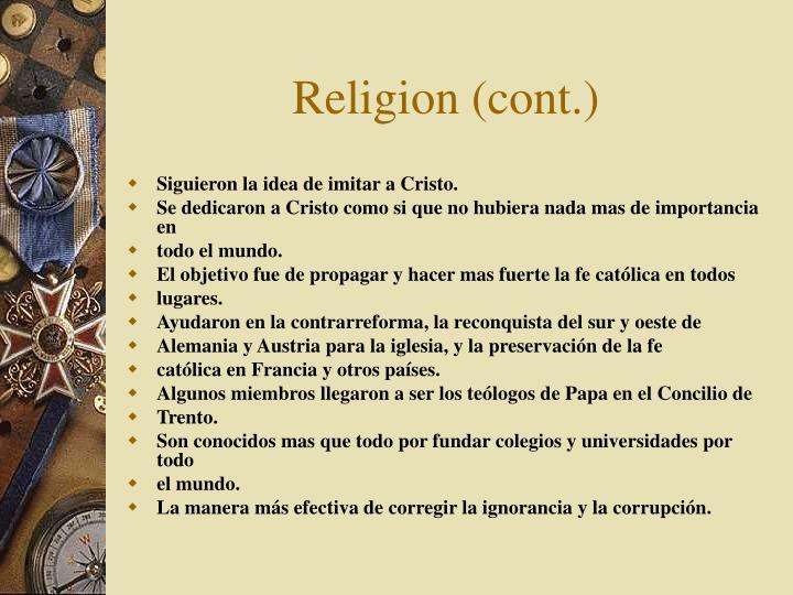 Religion (cont.)
