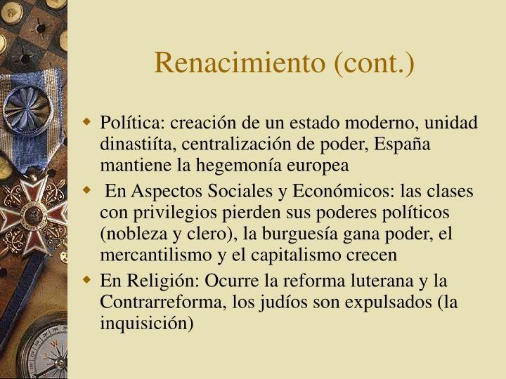 Renacimiento (cont.)