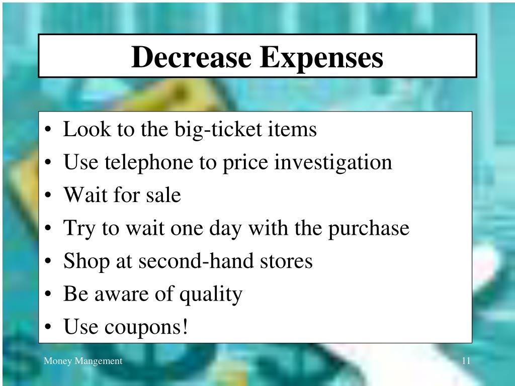 Decrease Expenses