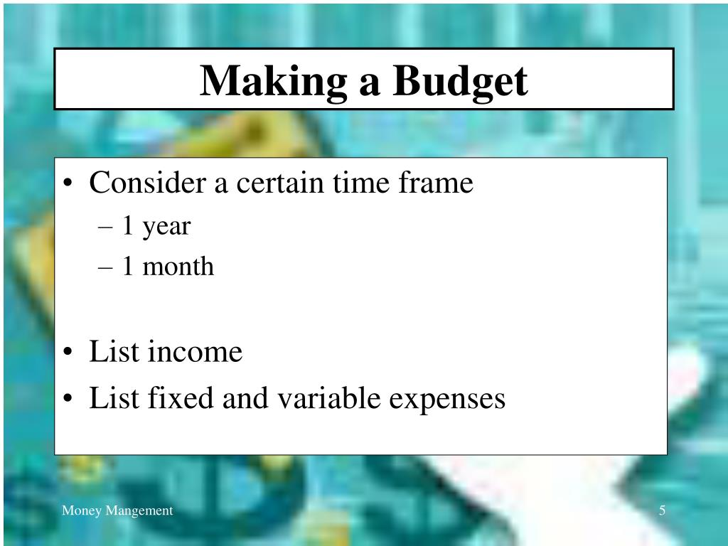 Making a Budget