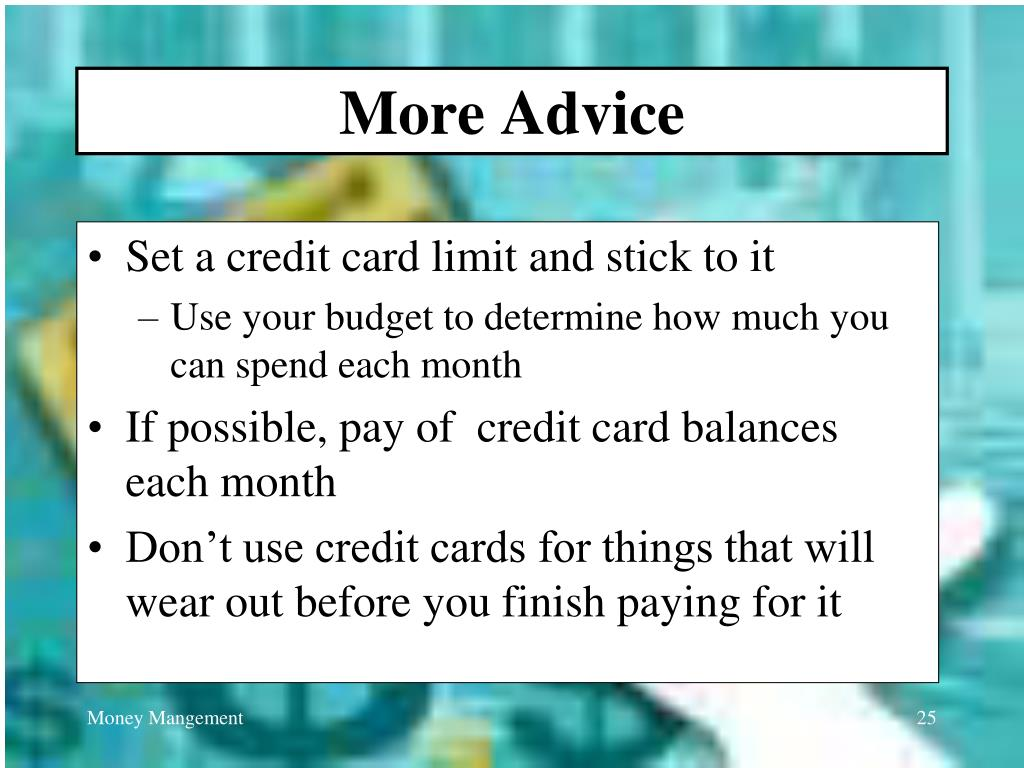More Advice