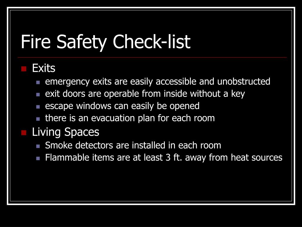Fire Safety Check-list
