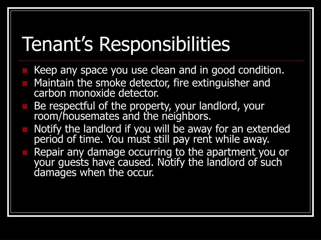 Tenant's Responsibilities