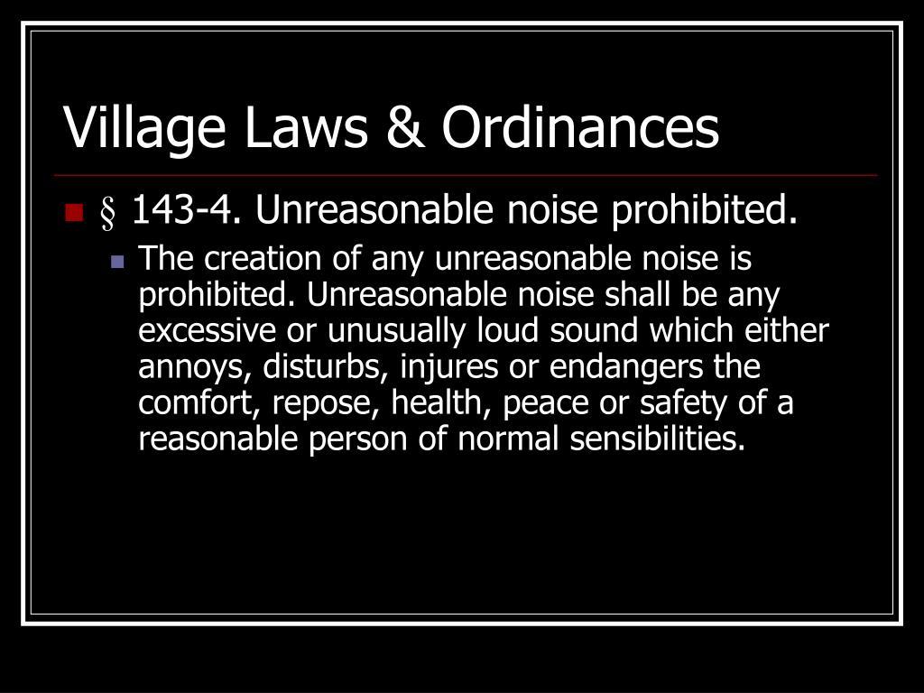Village Laws & Ordinances