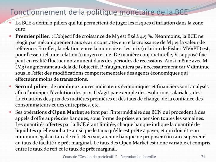 Fonctionnement de la politique monétaire de la BCE