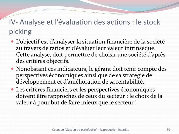 IV- Analyse et l'évaluation des actions : le stock picking