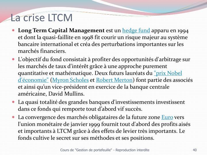 La crise LTCM