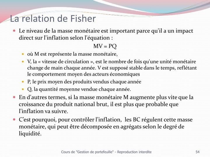 La relation de Fisher