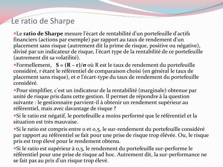 Le ratio de Sharpe