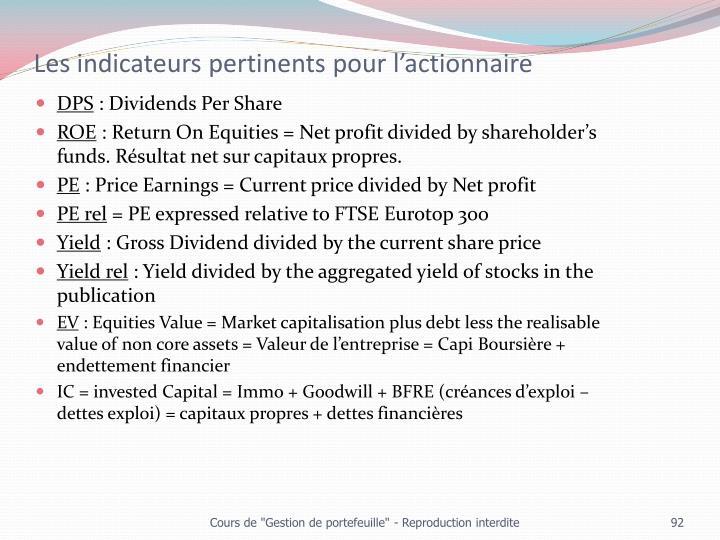 Les indicateurs pertinents pour l'actionnaire