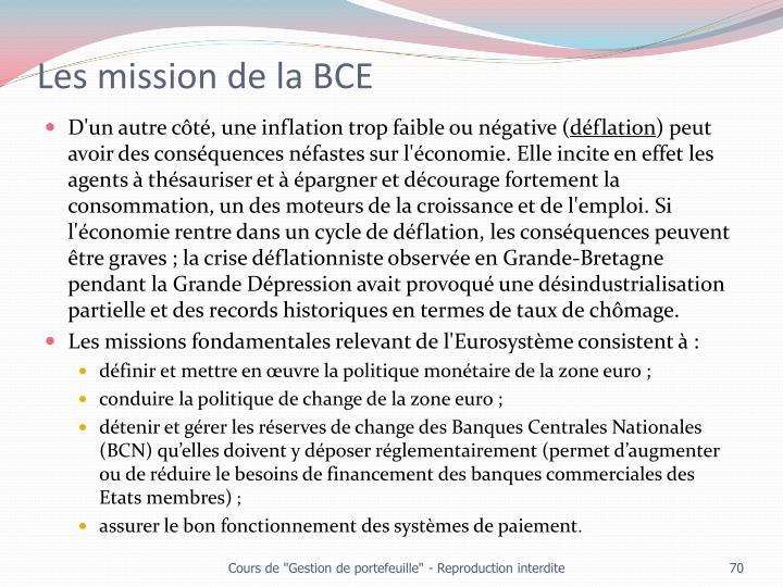 Les mission de la BCE