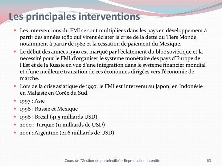 Les principales interventions