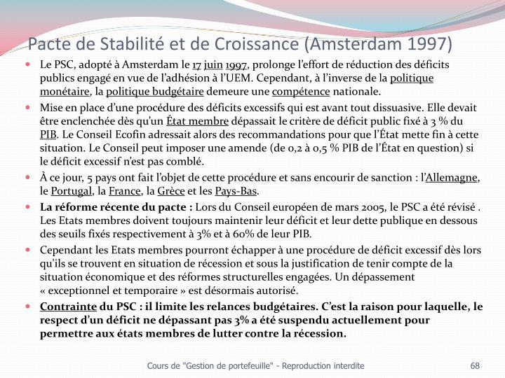 Pacte de Stabilité et de Croissance (Amsterdam 1997)