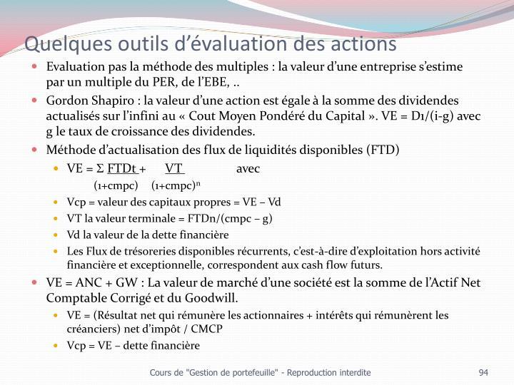 Quelques outils d'évaluation des actions