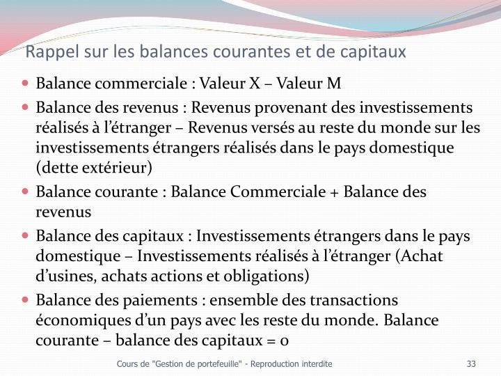 Rappel sur les balances courantes et de capitaux