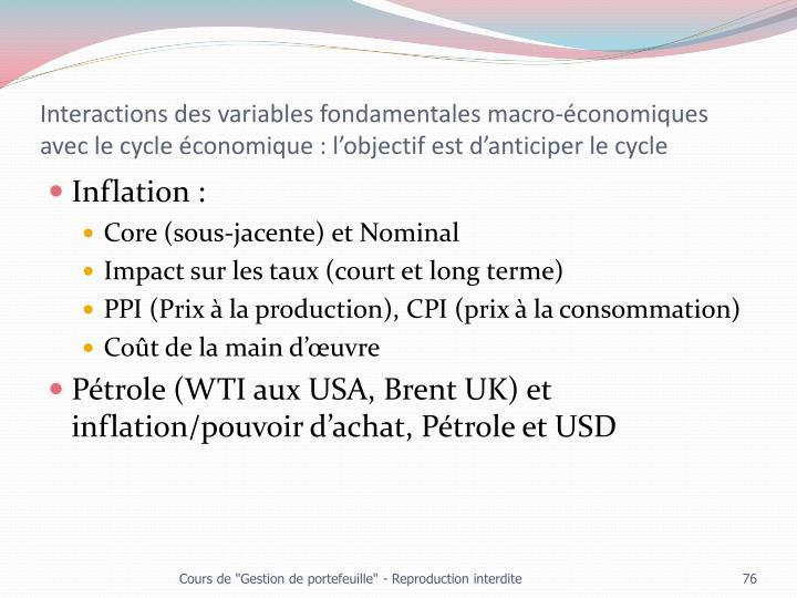 Interactions des variables fondamentales macro-économiques avec le cycle économique : l'objectif est d'anticiper le cycle