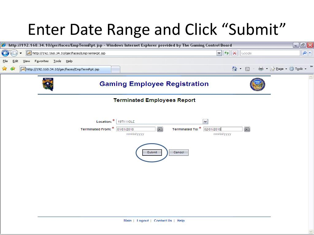 "Enter Date Range and Click ""Submit"""