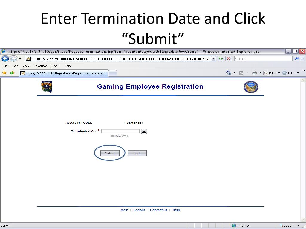 "Enter Termination Date and Click ""Submit"""