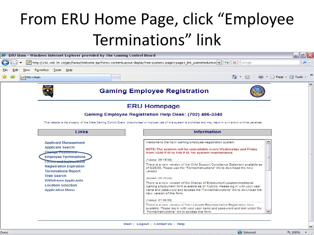 "From ERU Home Page, click ""Employee Terminations"" link"