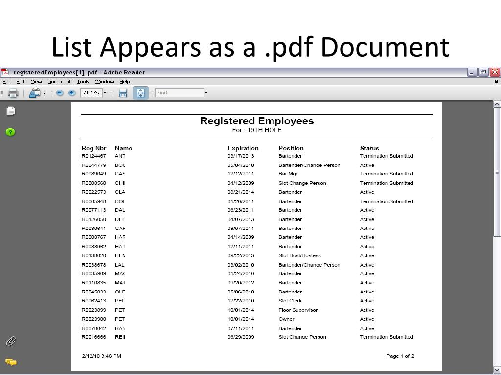 List Appears as a .pdf Document