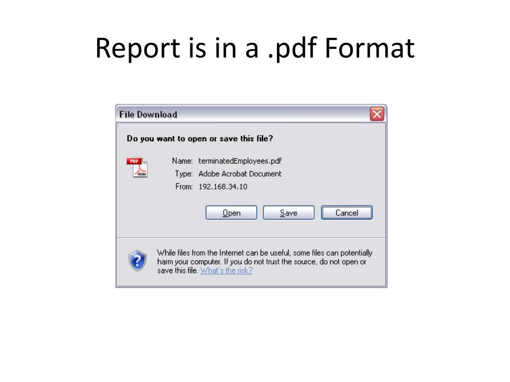 Report is in a .pdf Format