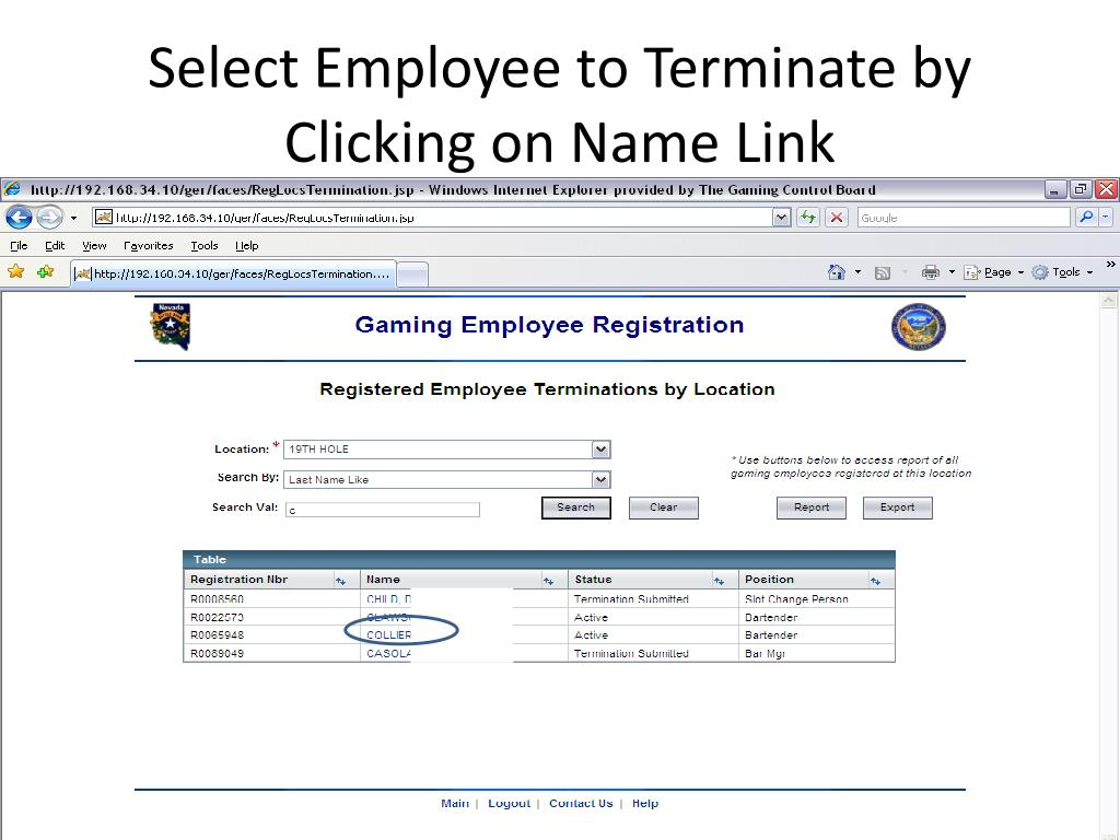Select Employee to Terminate by Clicking on Name Link
