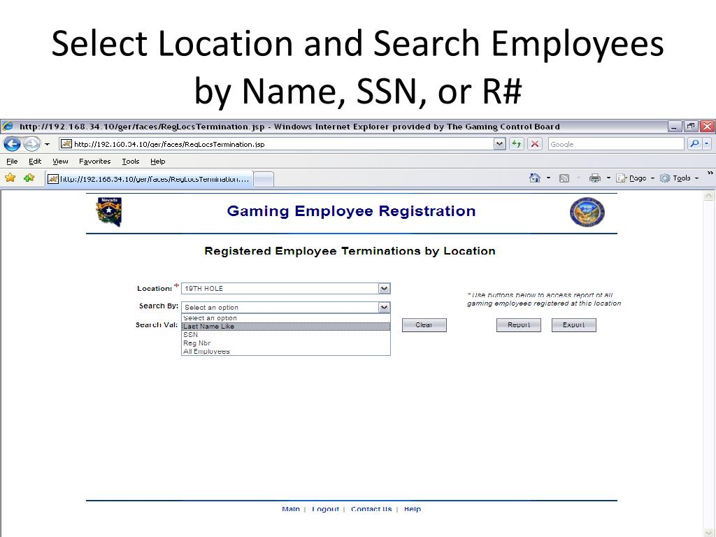 Select Location and Search Employees by Name, SSN, or R#