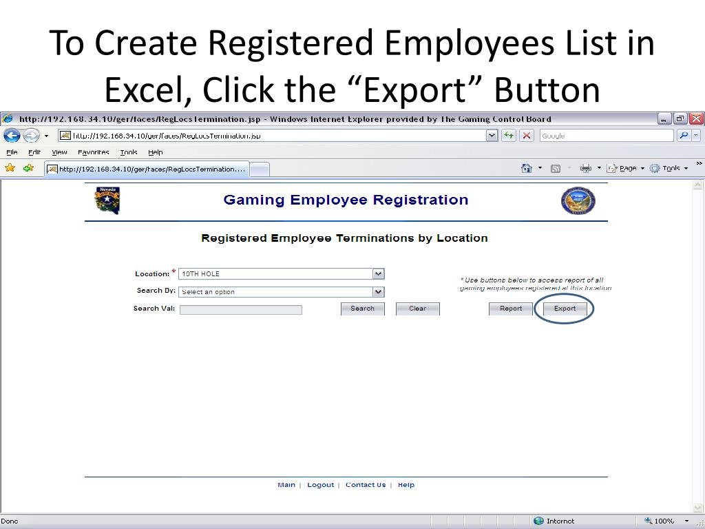"To Create Registered Employees List in Excel, Click the ""Export"" Button"