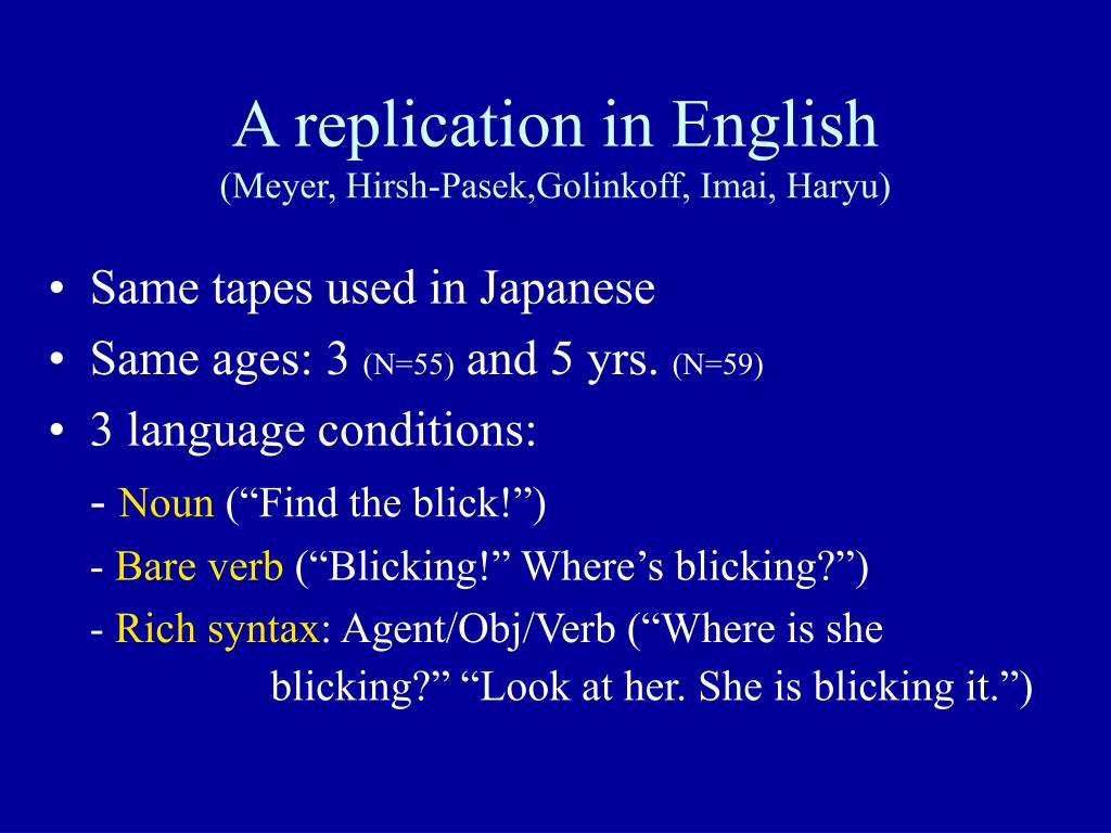 A replication in English