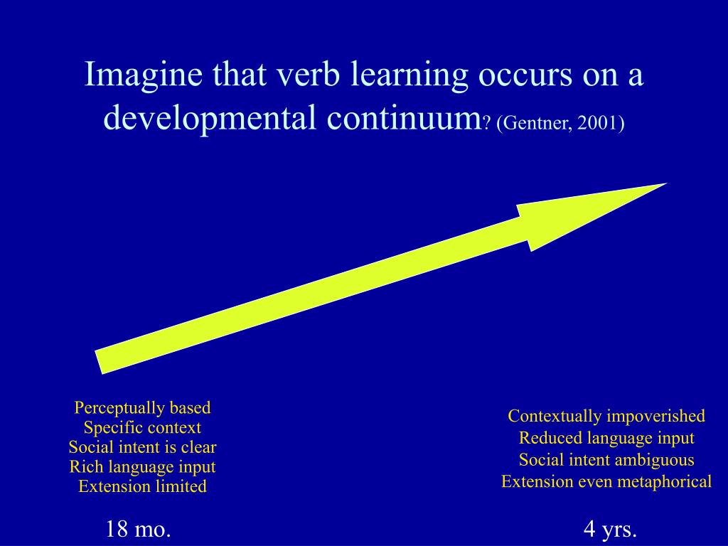 Imagine that verb learning occurs on a developmental continuum