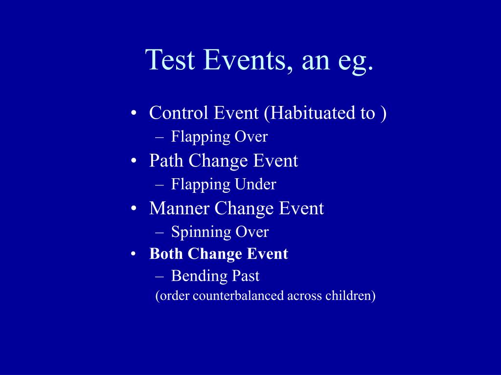 Test Events, an eg.