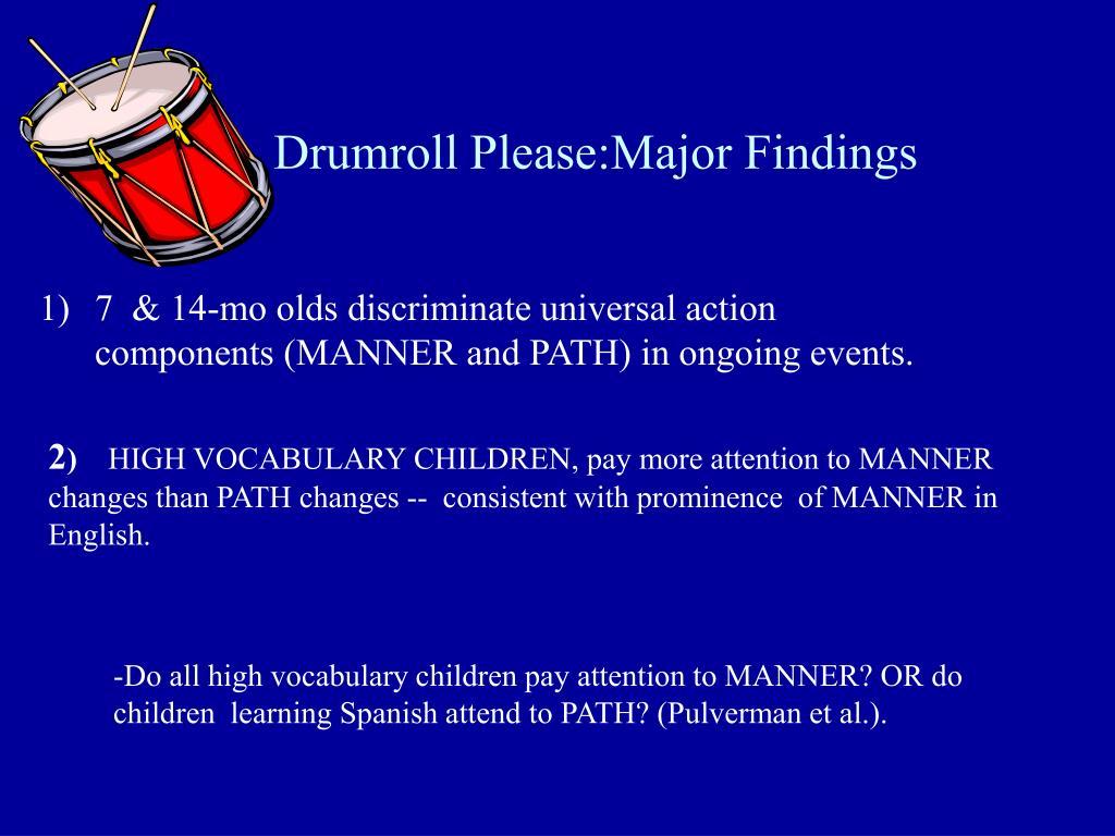 Drumroll Please:Major Findings