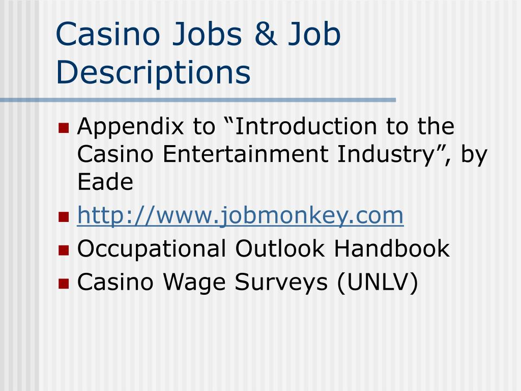 Casino Jobs & Job Descriptions