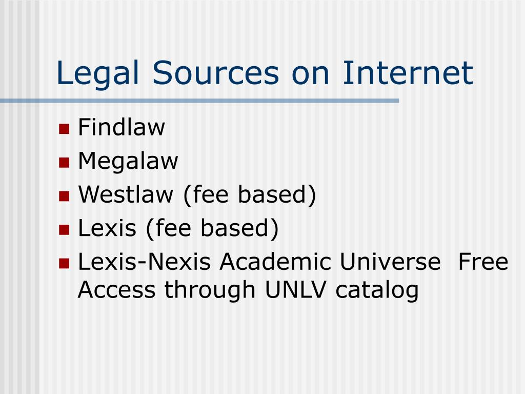 Legal Sources on Internet
