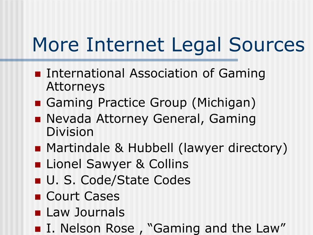 More Internet Legal Sources
