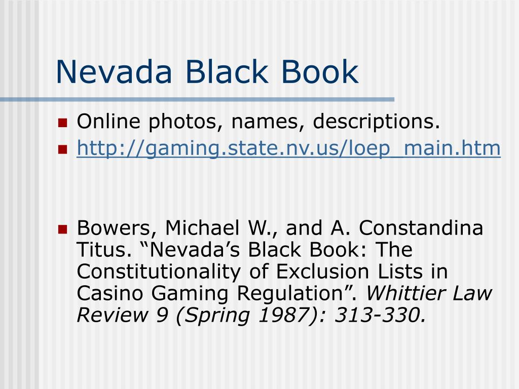 Nevada Black Book