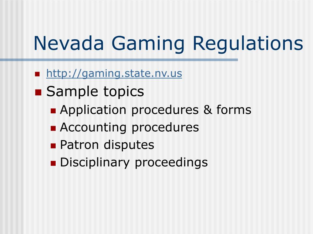 Nevada Gaming Regulations