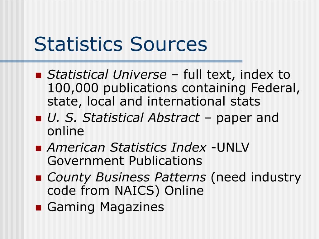 Statistics Sources